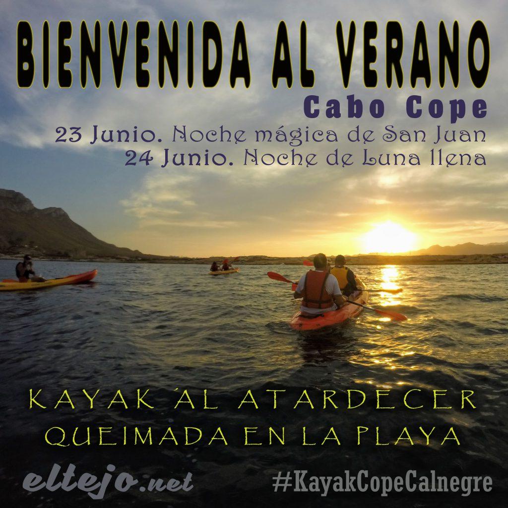 Kayak al atardecer. Bienvenida al verano. Noches de San Juan y Luna Llena. 23-24 junio Cabo Cope